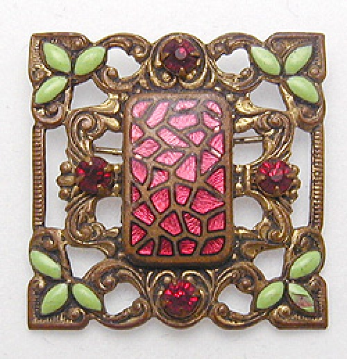 Newly Added Art Nouveau Red Enamel Brooch
