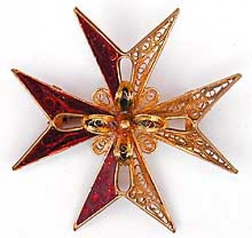 Newly Added Enameled Filigree Maltese Cross Brooch