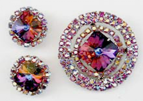 Newly Added DeLizza & Elster Red Rivoli Brooch set