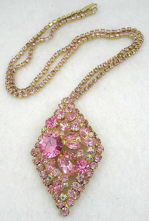 Newly Added DeLizza & Elster Pink Rhinestone Diamond Pendant