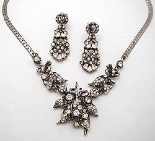 Newly Added Hollycraft Rhinestone Necklace Set