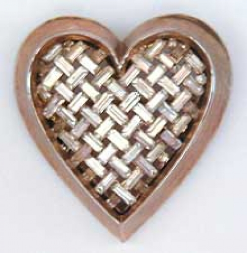 Newly Added Trifari Rhinestone Baguette Heart Brooch