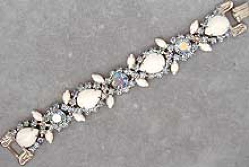 Newly Added Milk Glass & Light Sapphire Rhinestone Bracelet