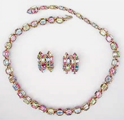 Newly Added Bogoff Pastel Rhinestone Necklace Set