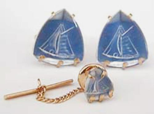 Newly Added Swank Sailboat Cuff Links & Tie Tack Set