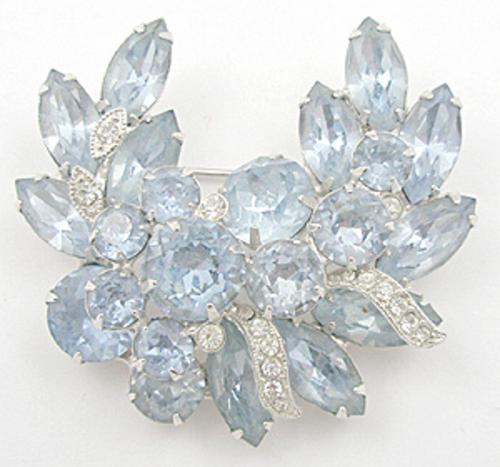 Newly Added Eisenberg Ice Light Blue Rhinestone Brooch