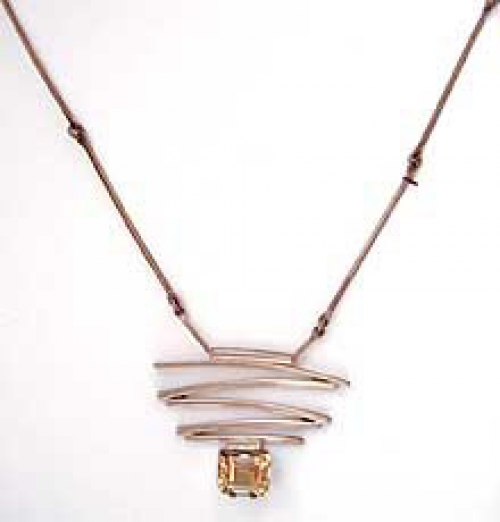 Newly Added Israeli Modernist Sterling Citrine Necklace