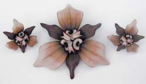 Newly Added Leather Orchid Brooch Set