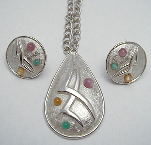 Newly Added Emmons Abstract Silver Pendant & Earrings Set