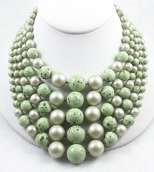 Newly Added Japan Pale Green Beads 5-Strand Necklace