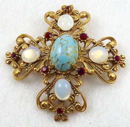 Newly Added Florenza Moonstone Maltese Cross Brooch