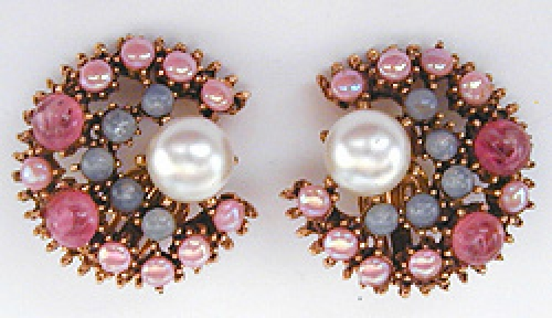 Newly Added Florenza Pink & Blue Glass Earrings