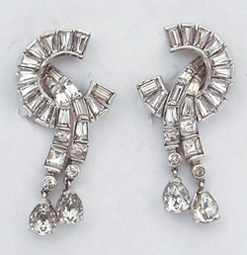 Newly Added Mazer Rhinestone Baguette Earrings
