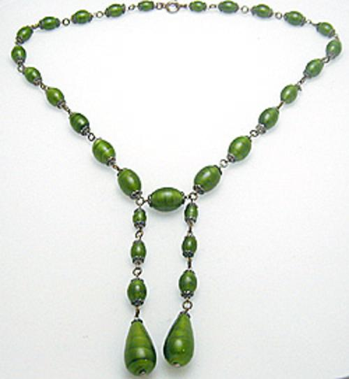 Newly Added Green Glass Bead Negligee Necklace