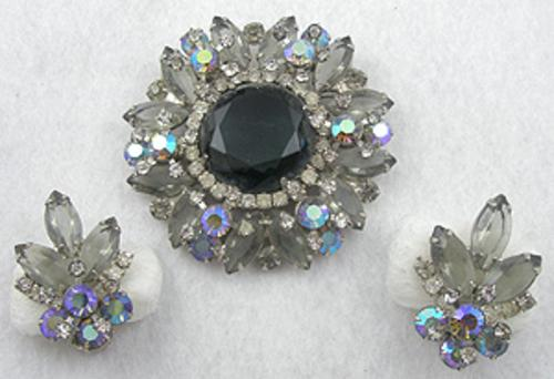 Newly Added DeLizza & Elster Black Diamond Brooch Set