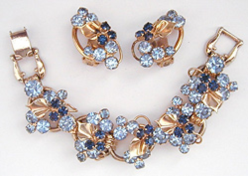 Newly Added DeLizza & Elster Blue Rhinestone Gold Leaf Bracelet Set