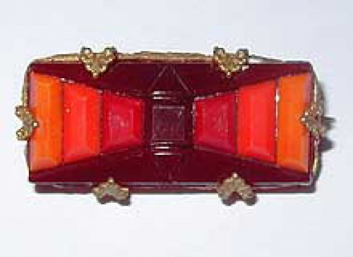 Newly Added Art Deco Red & Orange Glass Brooch