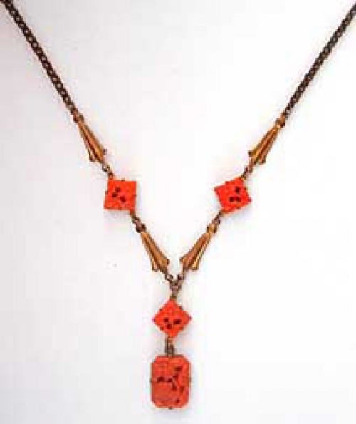 Newly Added Art Deco Molded Coral Glass Necklace