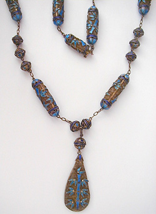 Newly Added Chinese Silver Enamel Bamboo Necklace