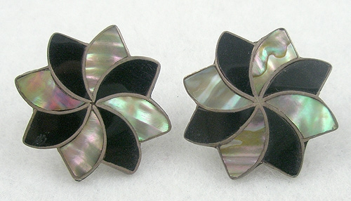 Newly Added Mexican Sterling Abalone & Onyx Star Earrings