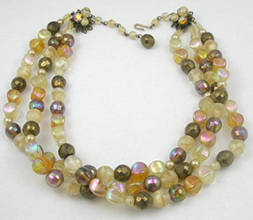 Newly Added Triple Strand Topaz Glass Bead Necklace