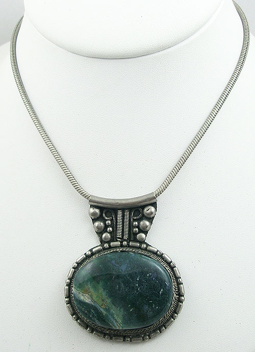 Newly Added Silver Moss Agate Pendant