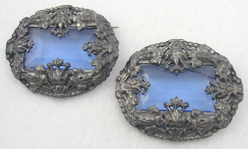 Newly Added Pot Metal Blue Glass Brooch Pair