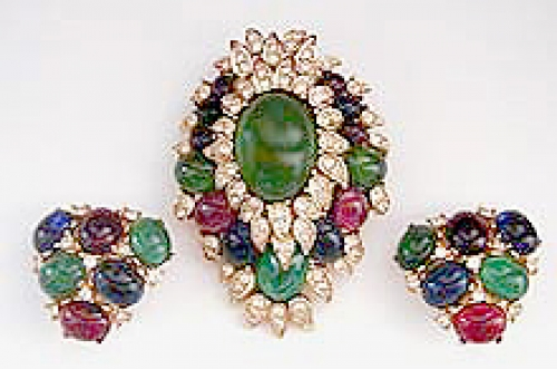 Newly Added Ciner Jeweled Cabochon Brooch Set