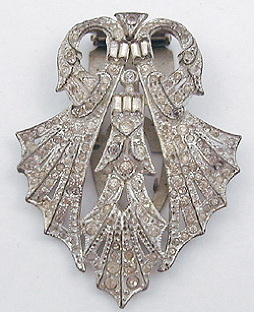 Newly Added Art Deco Rhinestone Bat Wing Dress Clip