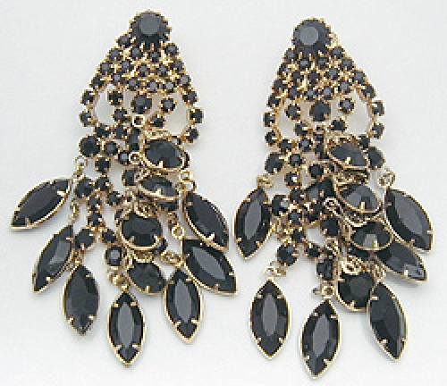 Newly Added Dominique Black Rhinestone Chandelier Earrings