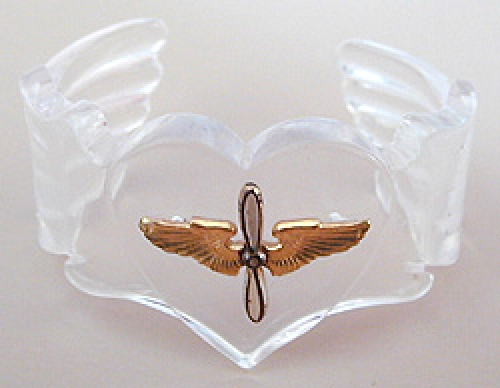Newly Added Lucite Trench Art Sweetheart Cuff Bracelet