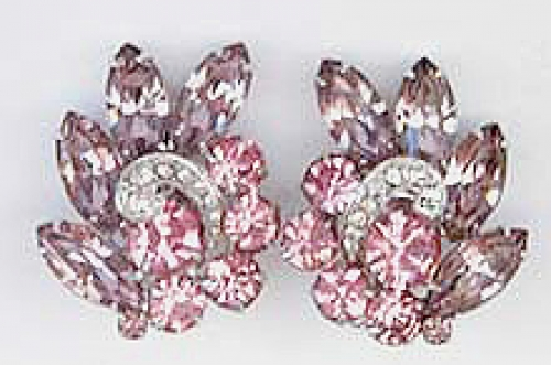 Newly Added Eisenberg Pink & Lavender Rhinestone Earrings