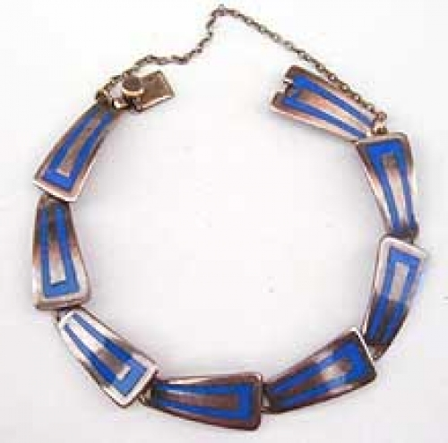 Newly Added Taxco Blue Enamel Sterling Bracelet