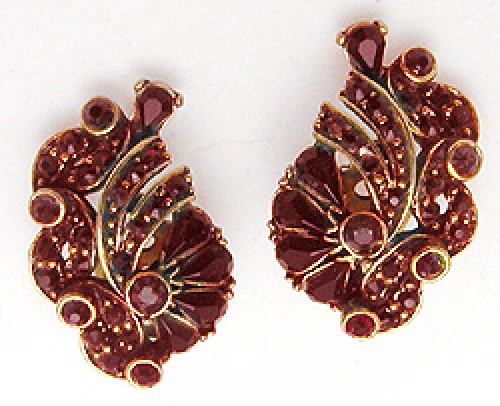 Newly Added Hollycraft Red Rhinestone Earrings