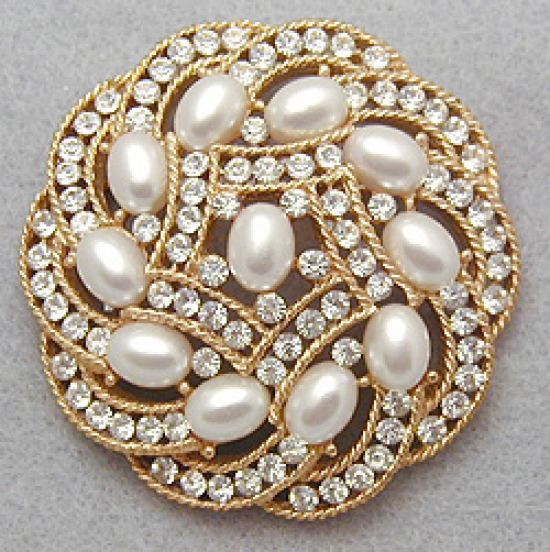 Newly Added Trifari Pearl Rhinestone Brooch