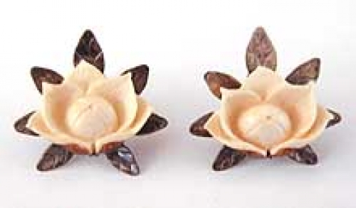 Newly Added Mings Sterling and Ivory Woodrose Earrings