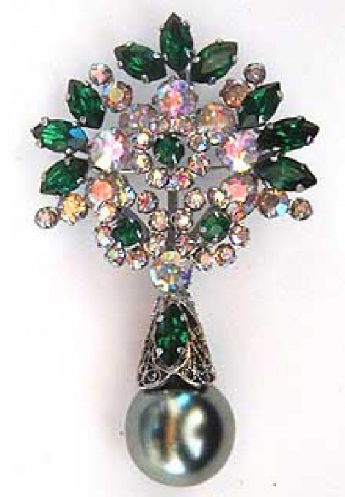Newly Added Schriener Green Pearl Drop Brooch