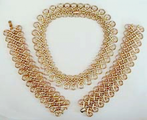 Newly Added Trifari Lacy Gold Necklace & Pair of Bracelets