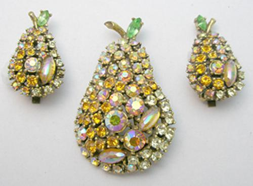 Newly Added Art Rhinestone Pear Brooch Set