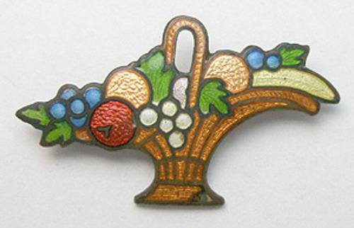Newly Added Enameled Fruit Basket Brooch