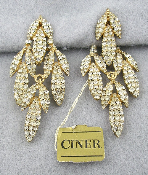 Newly Added Ciner Rhinestone Leaves Earrings