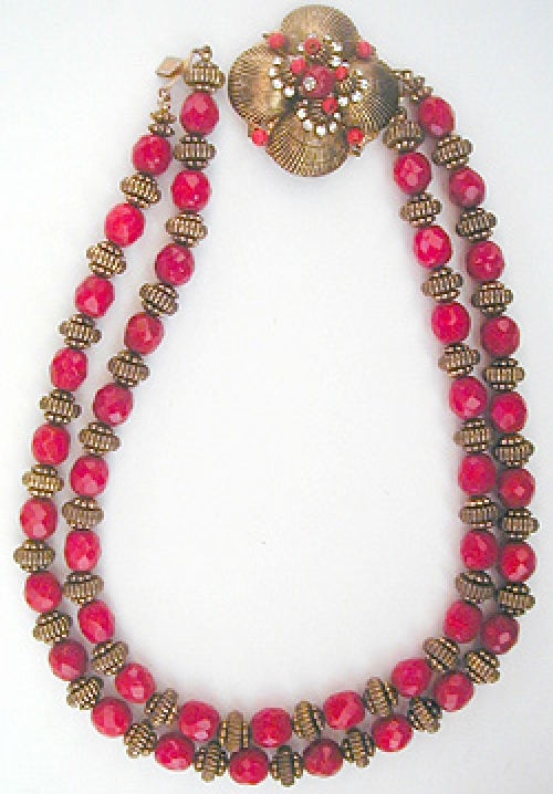 Newly Added Hattie Carnegie Red & Gold Bead Necklace