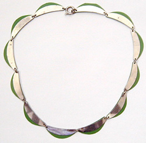 Newly Added Art Deco Chrome Link Green Galalith Necklace