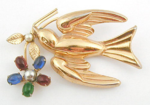 Newly Added Coro Dove with Flower Brooch