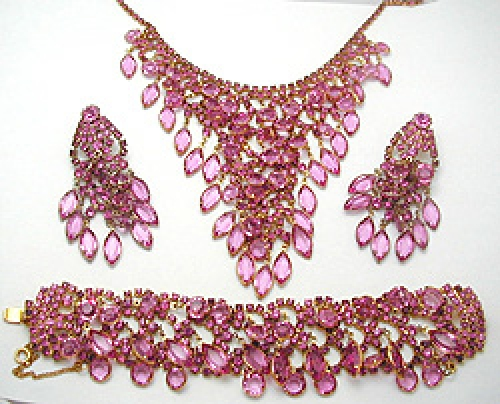 Newly Added Pink Rhinestone and Dangles Parure