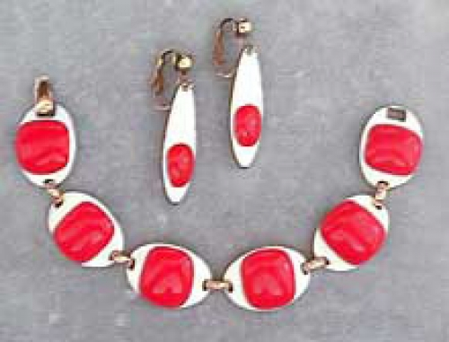 Newly Added Kay Denning Red & White Enamel Bracelet Set