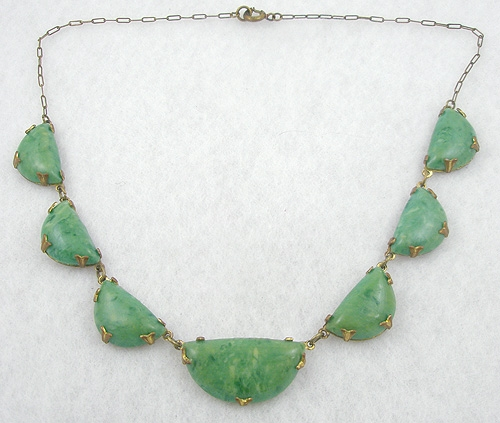 Newly Added Art Deco Green Galalith Necklace