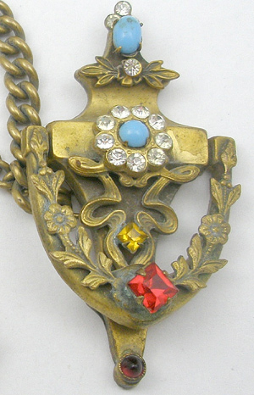 Description: Coro Popular Door Knocker And Key Double Brooch Or Chatelaine,  The Two Brooches Joined By A Long Double Length Of Chain.