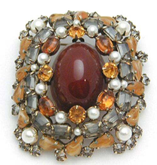Newly Added Schreiner Carnelian Glass Cabochon Brooch