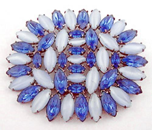 Newly Added Blue Moonstone and Rhinestone Navettes Brooch